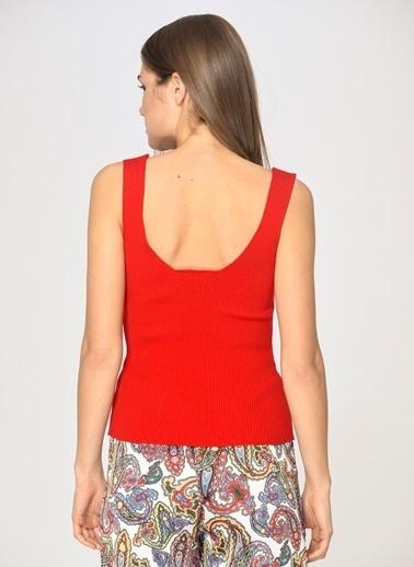 Loves You Kalın Askılı Kare Yaka Viskon Elite Triko Bluz Kırmızı